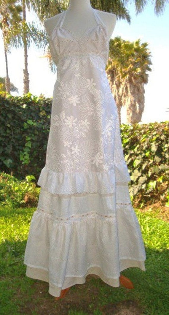 Items similar to stunning white dress ooak wedding gown for Wedding dresses for hawaii