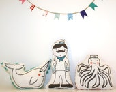 Organic Plush Rattle Dolls - Set of 3 - Let's Set Sail for Adventure - Narwhal, Sailor and Octopus