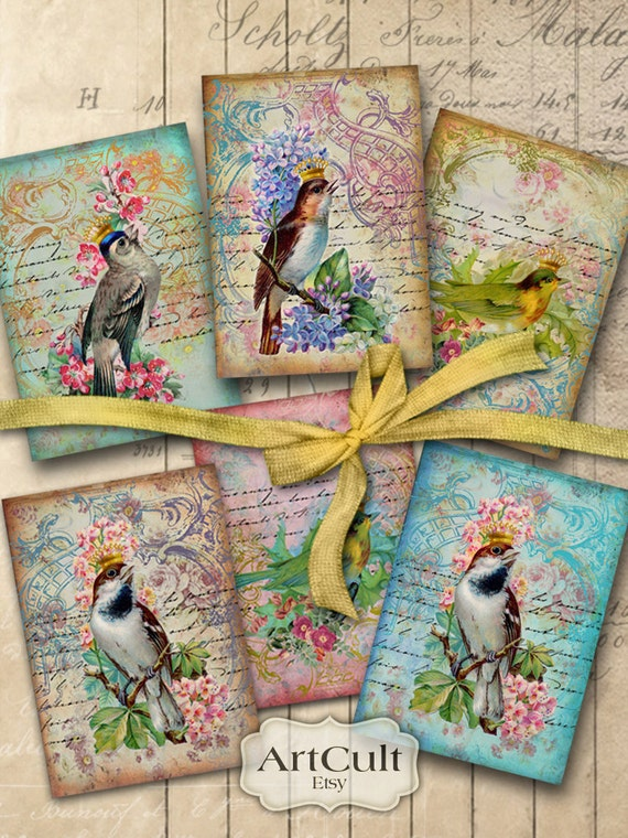VINTAGE BIRDS - Digital Collage Sheet Printable Download 2.5x3.5 inch size Gift Tags Ephemera Paper Craft ACEO, scrapbook