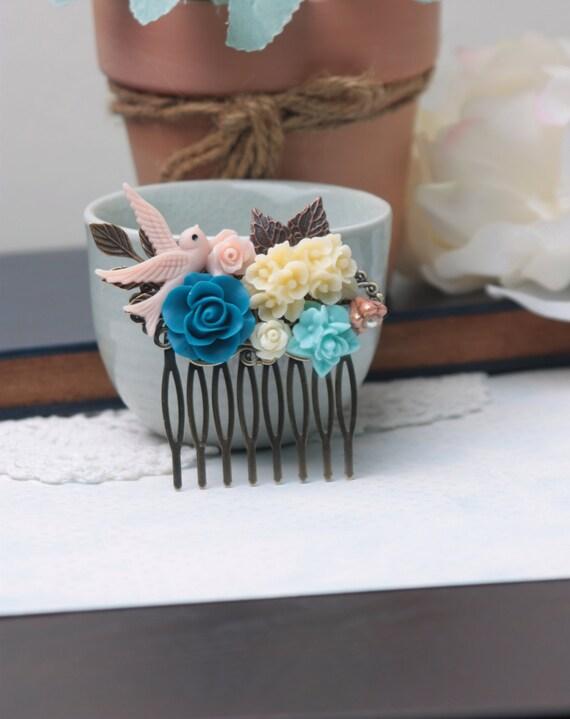A Swallow Bird, Blue, Ivory, Pink Brass Leaf, Art Nouveau Flower Collage Hair Comb. Bridesmaids Gift. Wedding Bridal Hair Comb.