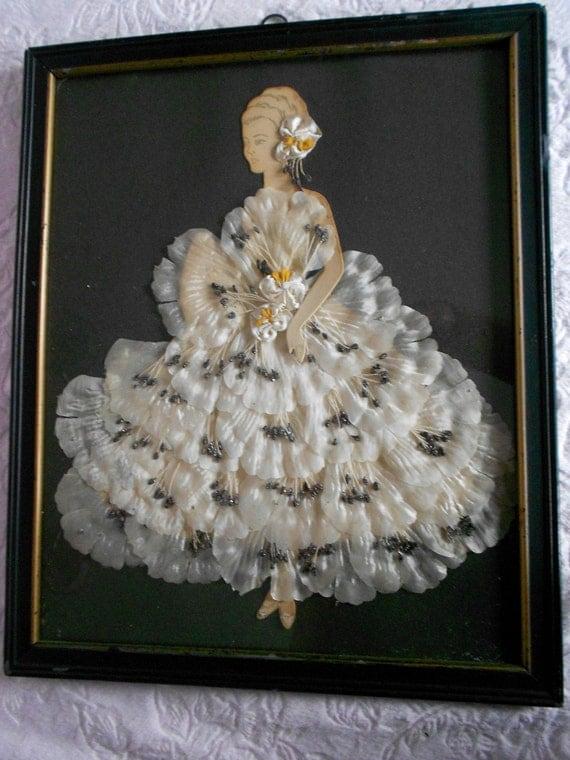 antique vintage silk satin ribbon rosette lace paper doll lady
