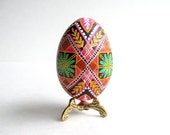 Pink Pysanka batik wax-resis egg art ~ hand painted eggs with hot beeswax ~ European haritage egg design ~ Eastern Europe folklore egg craft