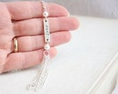 Love Stamped Pendant, Silver Tassel Chain Necklace, Bar Pendant, White Pearl, Simple Everyday Jewelry