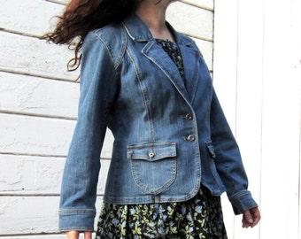 1970s Jean Jacket Gloria Vanderbilt NICE denim L/XL