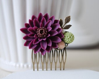 Large Plum Purple Chrysanthemum Flower Wedding Bridal Hair Comb.Plum Purple Flower Brass Leaf Collage Hair Comb. Bridal Purple Wedding