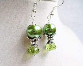 Green Glass Pearl & Green Crystal Romantic Silver Floral Dangle Earrings
