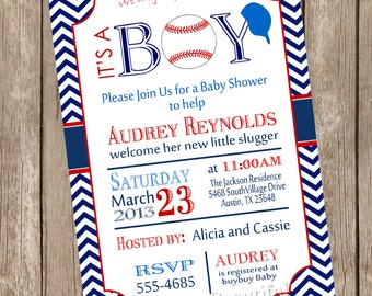 Chevron it's a boy baseball baby shower invitation, red, blue, baseball, printable invitation  baseball1