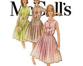 1960s Dress Pattern Bust 31 32 McCalls 5774 Full Skirt Shirtwaist Sleeveless Shirtdress Tie Collar Rockabilly Womens Vintage Sewing Patterns