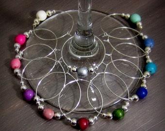 12 - Wine Charms | Wood Wine Glass Charms | Gift Box | Wine Hostess Gift - Wine Glass Markers - Wine Tasting - Housewarming Gift | SW12-1