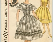 1960s Simplicity 3338 Mad Men One-Piece Party Dress, Full Skirt, Butterfly Sleeves Vintage Sewing Pattern Bust 35