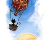 Black Cat Art Print, Steampunk Decor, Hot Air Balloon Ride, Childrens Room Art, Cat Silhouette, Animal Illustration, 8x10 Wall Art - rainbowofcrazy