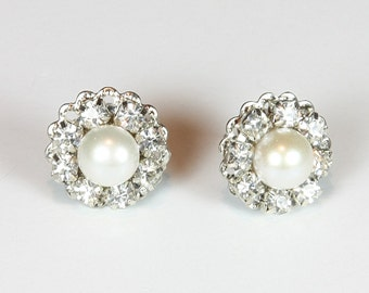 Bridal Pearl Earrings Rhinestone Earrings Vintage Earrings Wedding Pearl Stud Bridal Jewelry Victorian Earrings Bridesmaids Earrings