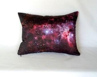 ON SALE: Purple Carina Nebula Pillow Cover - Outer Space NASA Telescope Photo Galaxy Fabric; purple, pink, black
