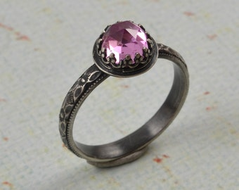 Pink Sapphire, Sterling Ring. Faceted Rose Cut Pink Sapphire Stone in Crown Heart Setting