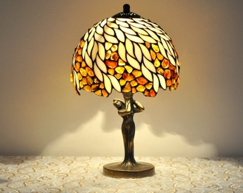 "Table lamp - 8"" lampshade made of stained glass and amber. Stained glass lamp. Tiffany table lamp. Bedside lamp."