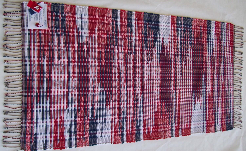 red white and blue rug cotton rag rug loom woven. Black Bedroom Furniture Sets. Home Design Ideas