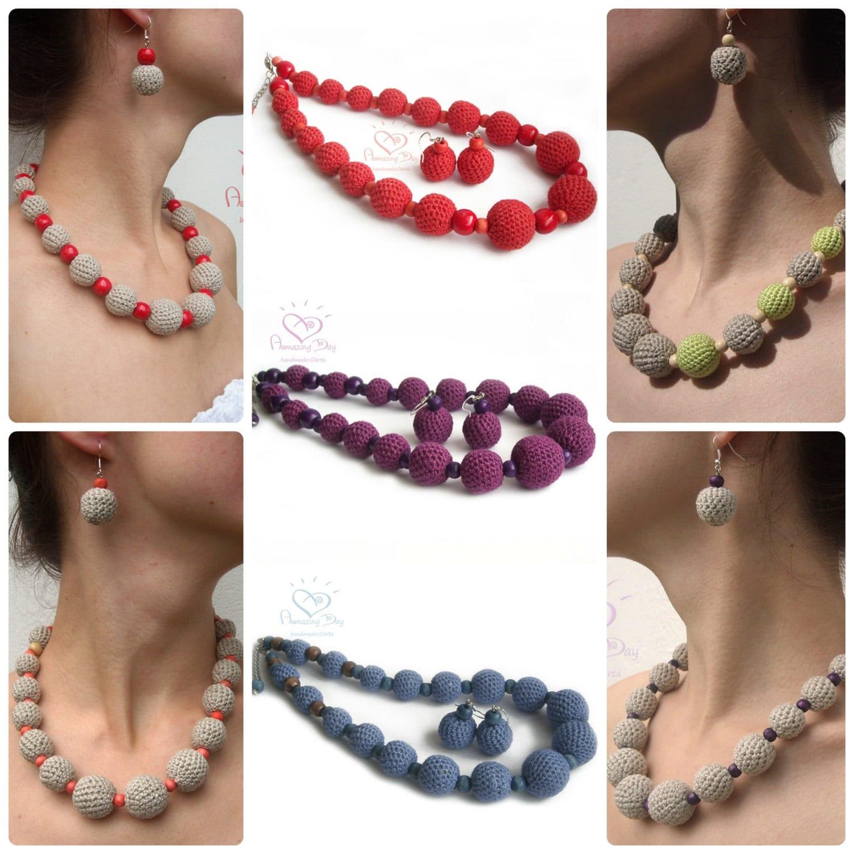 Linen Jewellery: LINEN Jewelry SET Rustic Crochet Bead /ball Necklace