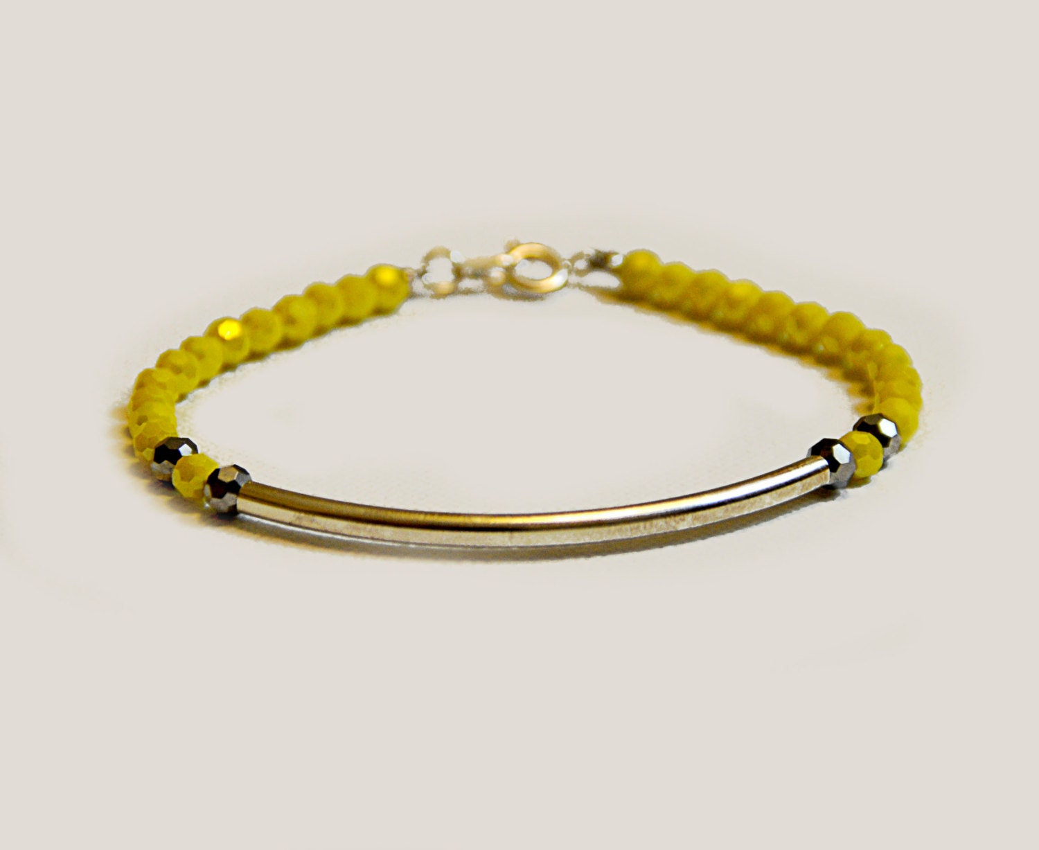 yellow beaded bracelet with silver gift for