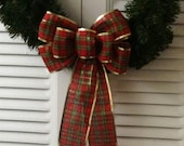 Plaid Christmas Wreath Bow Small/ Handmade Christmas Bow/ Small Christmas Wreath Bow/ Christmas Decoration