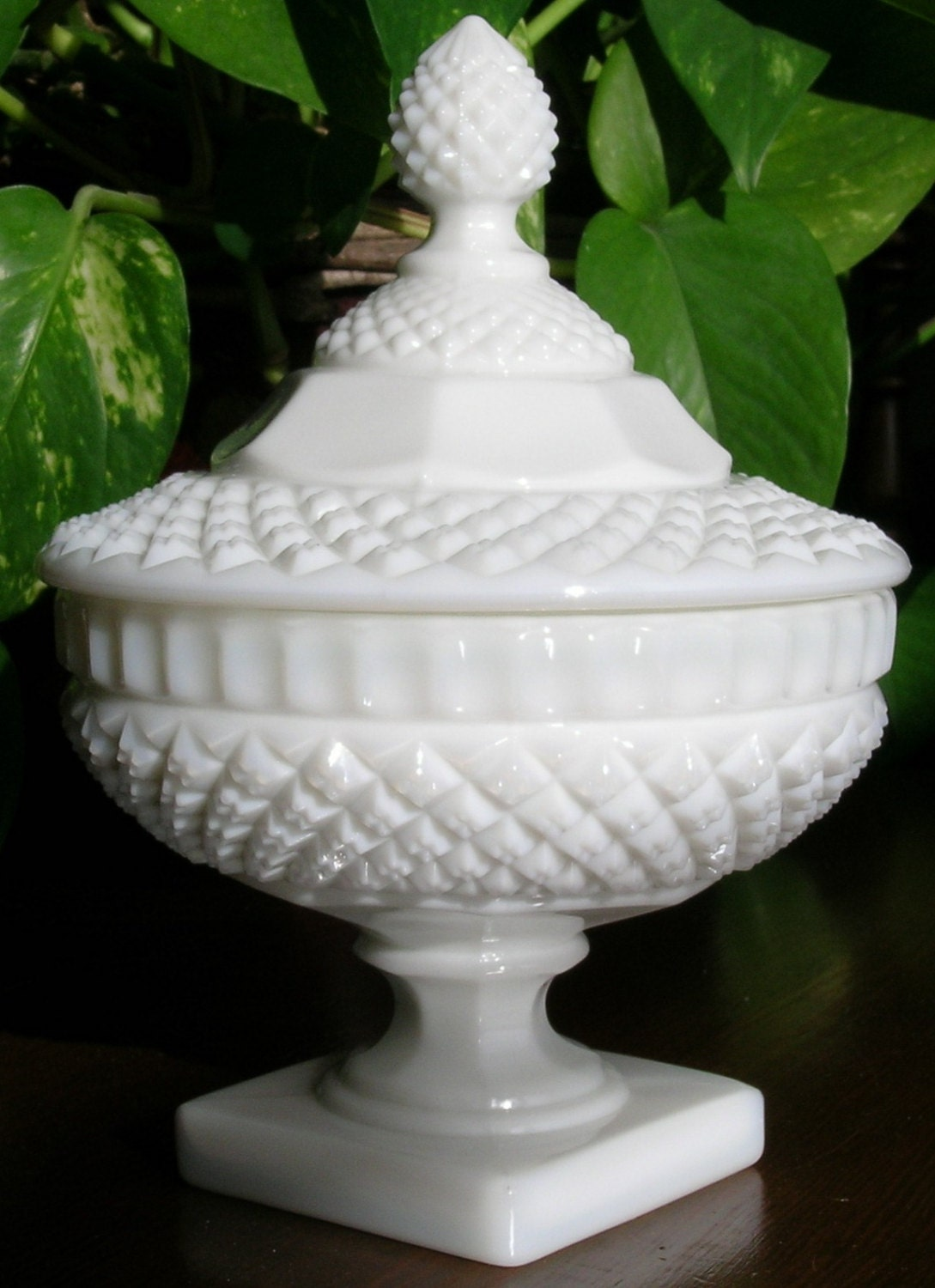 Westmoreland Crystal Milk Glass Candy Dish with Lid