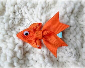 Goldfish Ribbon Sculpture Hair Clip, Under the sea party favor