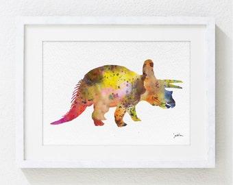 Triceratops Dinosaur Watercolor Print - 5x7 Archival Print - Dinosaur Painting - Dinosaur Art Print - Wall Decor Art Home Decor Housewares