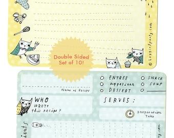 owl recipe card, 4 x 6 recipe cards, recipe cards 4x6, grandma recipe cards, kitchen recipe cards, 4x6 recipe card set, bridal recipe cards