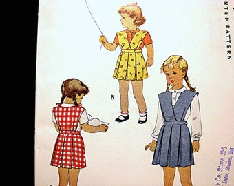 1940s Girls Jumper Pattern size 6 UNCUT Little Girls Jumper Dress with Blouse, Pleated Skirt Vintage Sewing Pattern