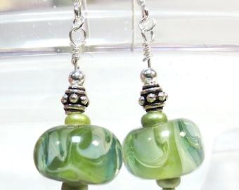 Green Lampwork Bead Earrings, Dangle Earrings, .925 Sterling Silver, Boro Bead Earrings, Spring Green, Pale Green, Satin Shimmer, SRAJD