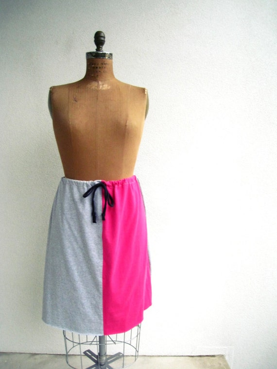 T Shirt Skirt / Hot Pink Black Gray / Knee Length / Recycled / Upcycled / Cotton / Soft / Comfortable / Drawstring / Handmade / by ohzie