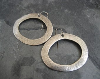 Whimsical sterling silver hoop earrings - solid sterling silver