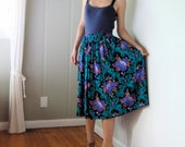 vintage women black teal green purple pink olive floral printed high waisted pleated midi calf long full skirt (size 4 6 8)