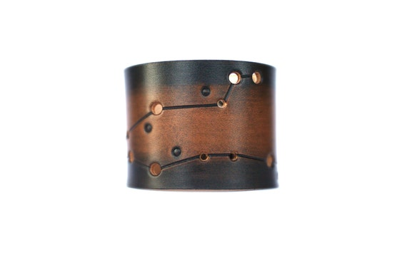 Zodiac leather cuff Pisces constellation