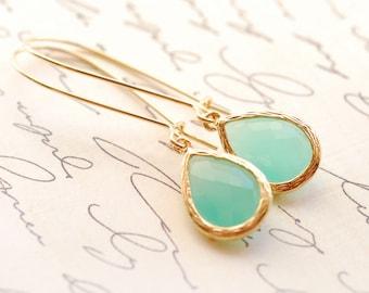 Drop Earrings, Drop Earrings Gold, Mint Jewelry, Mint Earrings Bridesmaid Earrings Jewelry Gold Bridesmaid Jewelry Limonbijoux