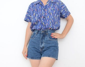 Vintage blue flames women blouse