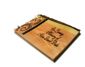 "Memorial Guest Book Funeral - Wood Rustic Book 10""x12""  - Custom Cover Work"