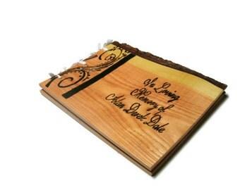 """Memorial Guest Book Funeral - Wood Rustic Book 10""""x12""""  - Custom Cover Work"""