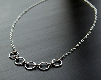 Necklace, Hammered Sterling Silver Necklace, Sterling Silver Necklace, Statement Necklace, 5 Ring Necklace