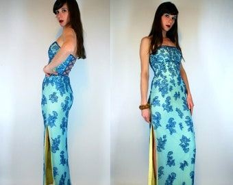 Cage Back Art Deco Blue Silk bodycon Column Dress w/ floral beading. Vintage 90s Strapless Maxi. Cut Out Sequin green party gown Extra Small