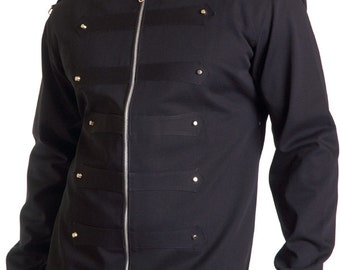 Black cotton rank jacket with tabs and studs full lined - Limited Edition Handmade in Italy
