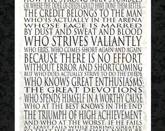 Man in the Arena Word Art Poster 18x24 - WORD ART PRINTS - Theodore Roosevelt