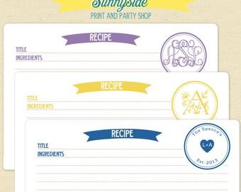 Monogram Recipe Card - Digital Printable File - You Pick Color