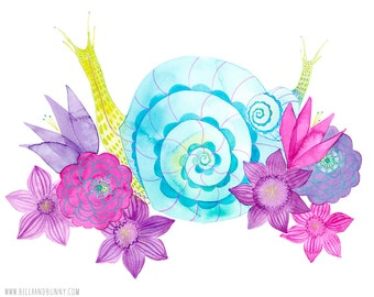 ART PRINT / nursery snail art, whimisical nursery, girly nursery, nature decor, garden art