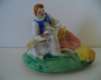 Hand Painted Porcelain Figurine Cover Lid Women Figure Pastoral Scene YourFineHouse ShipsWorldwide Gifts for Her