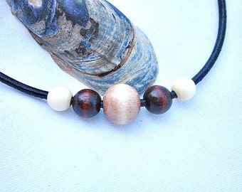 Wood Beads on Leather Necklace   ID 299