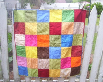 Baby Quilt with Embroidered name and Date-Patchwork Baby Quilt- Quilt-Patchwork Quilt-Toddler Quilt- Newborn Baby Photo Prop