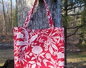 Large Red and White Floral Print Tote Bag