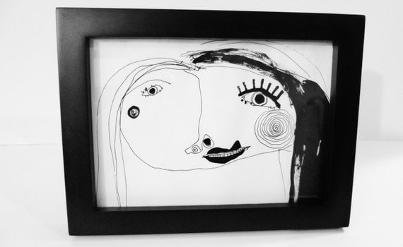 "Original Black and White Ink Drawing OOAK Black and White Girl Illustration Face Art Painting 6"" x 8"" Black Frame"