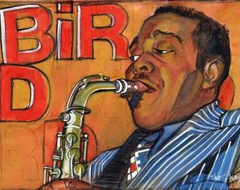 Charlie Parker Portrait Original Painting Gouache Lowbrow Fan Art Framed Wall Art, Bird - shockeyrotica