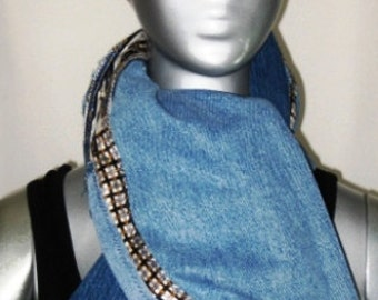 Upcycled patchwork denim scarf with mens tie detail